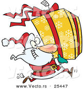 Cartoon Vector of a Santa Running to Deliver a Large Christmas Present Gift Wrapped in a Red Bow, Ribbon and Yellow Paper with a White Snowflake Pattern by Toonaday