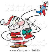 Cartoon Vector of a Santa Trying to Fly a Remote Control Airplane by Toonaday