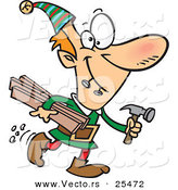 Cartoon Vector of a Santa's Elf Biting 2 Nails and Carrying Plywood and a Hammer to the Toy Shop by Toonaday