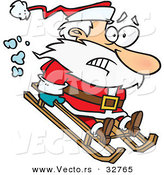 Cartoon Vector of a Scared Santa Sledding Downhill by Toonaday
