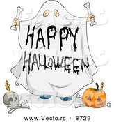 Cartoon Vector of a Sheet Ghost Halloween Character with Pumpkin and Skull by BNP Design Studio