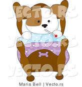 Cartoon Vector of a Sick Dog Laying in Bed with a Fever by Maria Bell