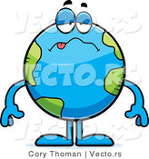 Cartoon Vector of a Sick Earth Globe by Cory Thoman