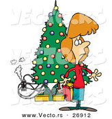 Cartoon Vector of a Smoking Electric Hazard Beside a Christmas Tree and Woman Just Noticing It by Ron Leishman