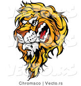 Cartoon Vector of a Snarling Male Lion Mascot by Chromaco