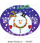 Cartoon Vector of a Snowman Bauble Ornament by Toonaday