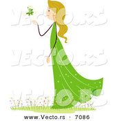 Cartoon Vector of a St. Patrick's Day Girl Blowing a Clover by BNP Design Studio