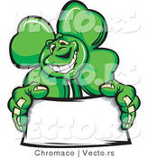 Cartoon Vector of a St. Patrick's Day Shamrock Clover Mascot Holding a Blank Sign by Chromaco