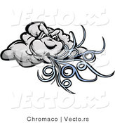Cartoon Vector of a Strong Cartoon Storm Cloud Mascot Blowing Powerful Wind Gusts by Chromaco