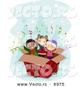 Cartoon Vector of a Surprise Box with Kids Inside on Christmas by BNP Design Studio