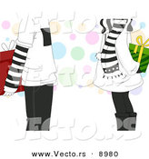 Cartoon Vector of a Teenage Boy and Girl Exchanging Presents on Christmas by BNP Design Studio