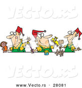 Cartoon Vector of a Three Happy Christmas Elves Making Toys Together by Toonaday