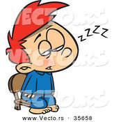Cartoon Vector of a Tired Boy Trying to Stay Awake for Santa by Toonaday