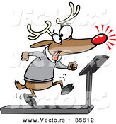 Cartoon Vector of a Tired Christmas Reindeer Running on Treadmill by Toonaday