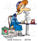 Cartoon Vector of a Tired Female Christmas Shopper Drinking Coffee at a Table Beside Her Shopping Bags and List by Toonaday