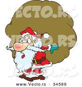 Cartoon Vector of a Tired Santa Carrying a Big, Heavy Sack of Presents by Toonaday