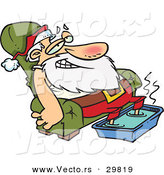 Cartoon Vector of a Tired Santa Relaxing on a Couch with a Hot Steamy Foot Bath by Toonaday