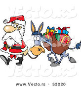 Cartoon Vector of a Tired Santa Walking with Bag of Presents on His Donkey by Toonaday
