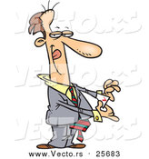 Cartoon Vector of a Tricky Business Man Pulling an Ace out of His Pocket by Toonaday