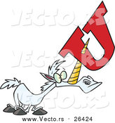 Cartoon Vector of a Unicorn Horn Poked Through an Alphabet Letter U by Toonaday