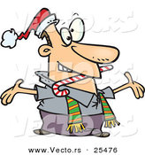 Cartoon Vector of a Welcoming Man Wearing a Santa Hat and Scarf, Biting a Candy Cane and Holding His Arms Wide Open While Greeting Friends or Family by Toonaday