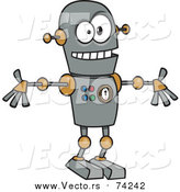 Cartoon Vector of a Welcoming Robot by Toonaday