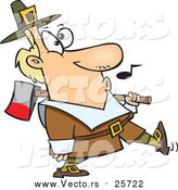 Cartoon Vector of a Whistling Pilgrim Carrying an Ax over His Shoulder by Toonaday