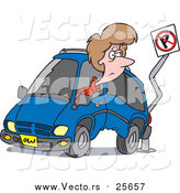 Cartoon Vector of a Woman Backing Her Minivan into a Pole by Toonaday