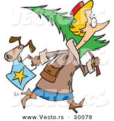 Cartoon Vector of a Woman Carrying a Dog in a Shopping Bag and a Christmas Tree over Her Shoulder by Toonaday
