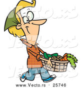 Cartoon Vector of a Woman Carrying a Harvest Basket by Toonaday