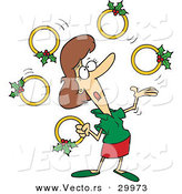Cartoon Vector of a Woman Juggling Five Gold Christmas Rings by Toonaday