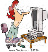 October 18th, 2017: Cartoon Vector of a Woman Staring Blankly at a Computer by Toonaday