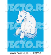 December 27th, 2017: Cartoon Vector of a Worried Polar Bear Floating on Tiny Piece of Ice in the Ocean by Zooco