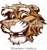 Cartoon Vector of a Young Happy Cartoon Cougar Mascot Smiling by Chromaco