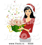 Cartoon Vector of a Young Lady Holding a Gift Box of Confetti for Christmas by BNP Design Studio