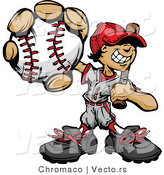 Cartoon Vector of a Young Male Baseball Playing Holding Ball and Bat by Chromaco