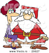 Cartoon Vector of an Adult Lady Sitting on Santa's Lap by Toonaday