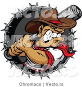 Cartoon Vector of an Aggressive Cowboy Baseball Player Preparing to Swing Bat at Ball by Chromaco