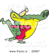Cartoon Vector of an Alligator Carrying Alphabet Letter a by Toonaday