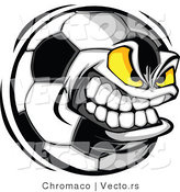 Cartoon Vector of an Ambitious Soccer Ball Mascot Gritting Teeth While Giving an Evil Stare by Chromaco