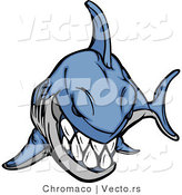 Cartoon Vector of an Evil Blue Shark Grinning by Chromaco