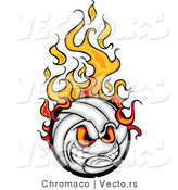 Cartoon Vector of an Intimidating Volleyball Ball Mascot on Fire with Evil Eyes and Gritting Teeth by Chromaco