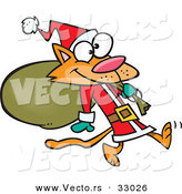 Cartoon Vector of an Orange Santa Cat Carrying Sack of Presents by Ron Leishman