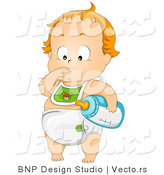 Cartoon Vector of Baby Boy Standing While Sucking Thumb and Holding Bottle with Milk by BNP Design Studio