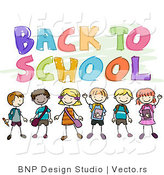 Cartoon Vector of Back to School Text Above Happy Children Smiling and Waving by BNP Design Studio