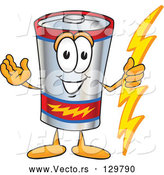 Cartoon Vector of Battery Mascot Character Holding a Bolt of Energy and Welcoming by Toons4Biz