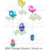 Cartoon Vector of Birds Transporting Easter Eggs by BNP Design Studio