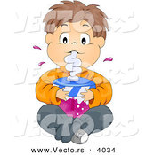Cartoon Vector of Boy Drinking Large Cup of Grape Juice While Seated on Floor with Legs Crossed by BNP Design Studio