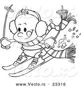Cartoon Vector of Cartoon Baby Girl Skiing - Coloring Page Outline by Toonaday
