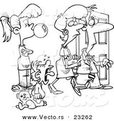 Cartoon Vector of Cartoon Babysitter Watching Parents Leave - Coloring Page Outline by Ron Leishman